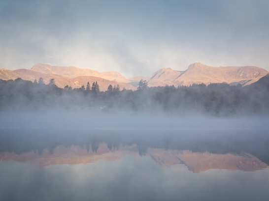 Lake Windermere, Langdale Pikes and surrounding fells, Lake District